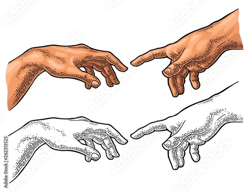 Male finger pointing touch god hand. The Creation of Adam. Canvas