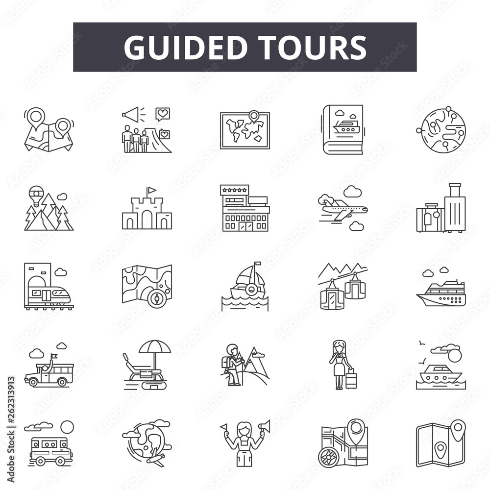 Fototapeta Guided tours line icons, signs set, vector. Guided tours outline concept illustration: guide,tour,travel,tourism,vacation