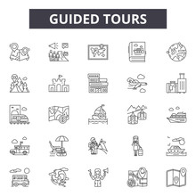 Guided Tours Line Icons, Signs Set, Vector. Guided Tours Outline Concept Illustration: Guide,tour,travel,tourism,vacation