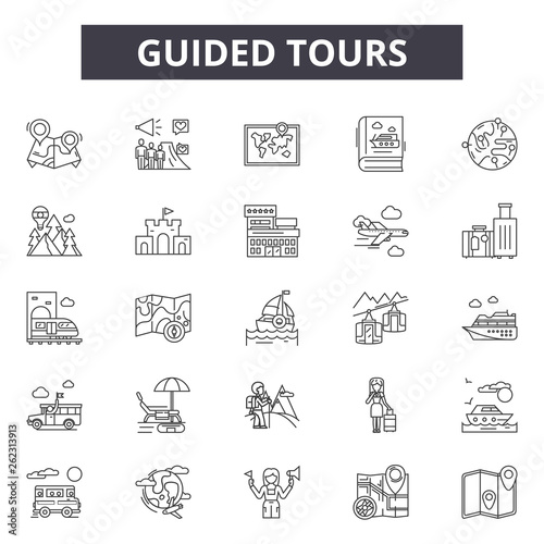 Fotografija Guided tours line icons, signs set, vector