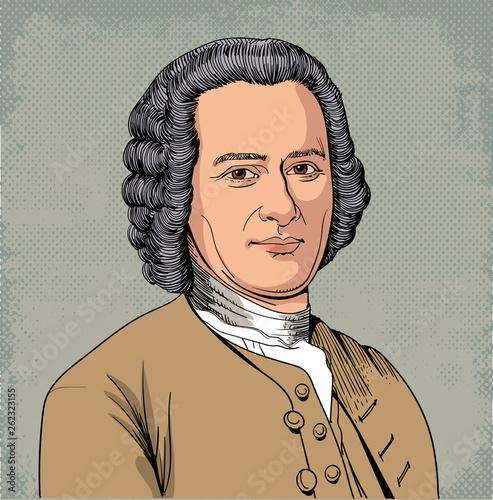 Fotografia, Obraz Jean Jacques Rousseau portrait in line art illustration