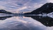 Timelapse of sunset over lake Haidersee in winter