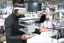 Vitual Reality Marketing Technology For Access Entire Product Inventory In-store Concept. Man Suit Use VR Wearable Device Application For Simulate Furniture And Colour In Retail Store. 3D Rendering.