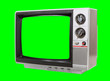 canvas print picture - Vintage television isolated with chroma green screen and background.