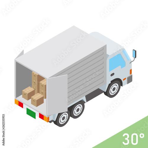 Leinwand Poster 立体的な働くクルマのイラスト(後 開いた扉とダンボール) トラック ベクターデータ アイソメトリック投影法