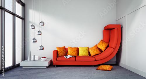 Photographie Rotes Sofa in zu engem Raum