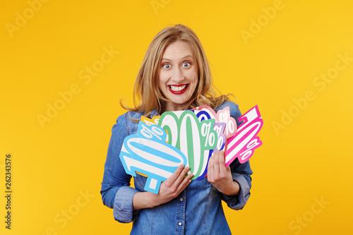 Fotomural  jolie femme blonde expressive souriant