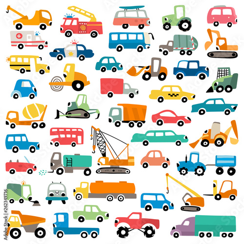 Foto op Aluminium Cartoon cars Cartoon cars vector set