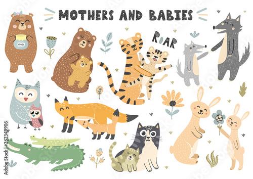 obraz dibond Mothers and babies animals collection. Cute vector elements for your design