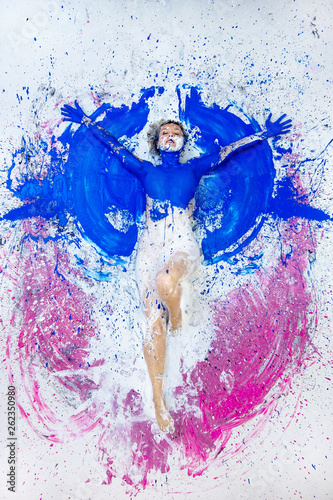 Young Nude Artist Woman In Blue Pink White Paint Painted Lies On The Ground Like An Angel And Raises Her Arms Creative Abstract Body Art Abstract Expressionism Painting Colorful Colored Buy
