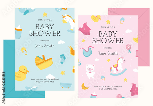 Baby Shower Invitation Card Design Layout With Illustrative