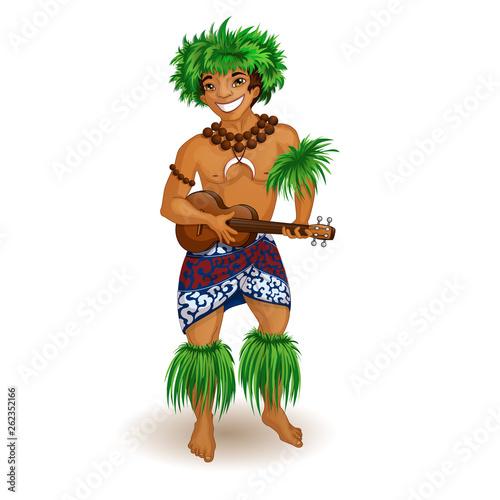 Mężczyzna w hawajskich ubraniach z ukulele w ręku. Wakacje na Wyspach Hawajskich. Ilustracji wektorowych. Zabawna postać w stylu kreskówki.