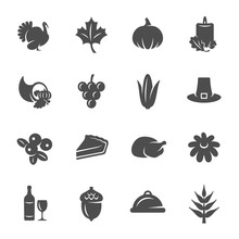 Thanksgiving Day Vector Icon Set
