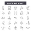 Health and beauty line icons, signs set, vector. Health and beauty outline concept illustration: beauty,health,care,female,cosmetic,spa,woman