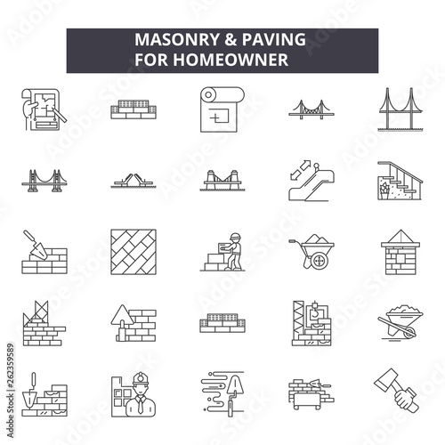 Masonry line icons, signs set, vector Canvas