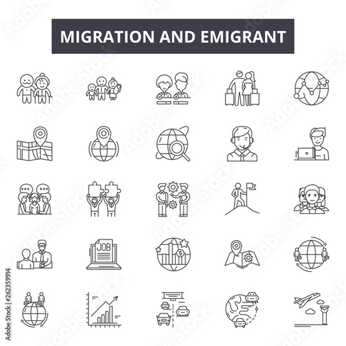 Migration emigrant line icons, signs set, vector Canvas Print