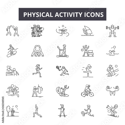 Physical activity line icons, signs set, vector. Physical activity outline concept illustration: physical,activity,exercise,sport,healthy,man,health,training Wall mural