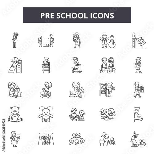 Pre school line icons, signs set, vector. Pre school outline concept illustration: child,dehappy,kid,preschool,play