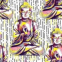 Buddha Seamless Pattern. Buddhism, Yoga. Figure Markers. Pop Art. Bright Print, Colored Spots. Freehand Drawing.