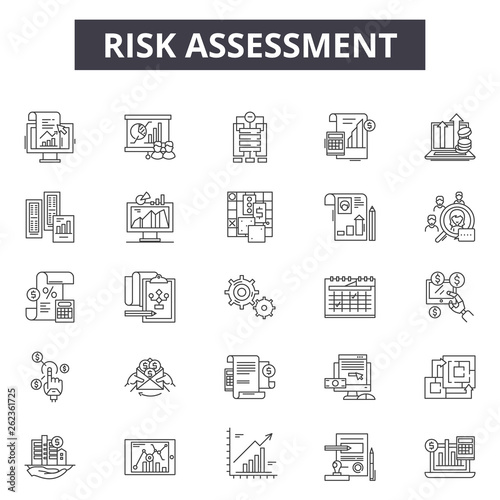 Risk assessment line icons, signs set, vector. Risk assessment outline concept illustration: risk,assessment,analysis,business,management,control,audit,data Wall mural