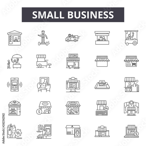 Small business line icons, signs set, vector. Small business outline concept illustration: business,small,building,shop,market,commercial,store