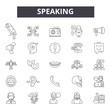 Speaking line icons, signs set, vector. Speaking outline concept illustration: speak,talk,speech,chat,background
