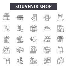 Souvenir Shop Line Icons, Signs Set, Vector. Souvenir Shop Outline Concept Illustration: Souvenir,deshop,gift,background,travel
