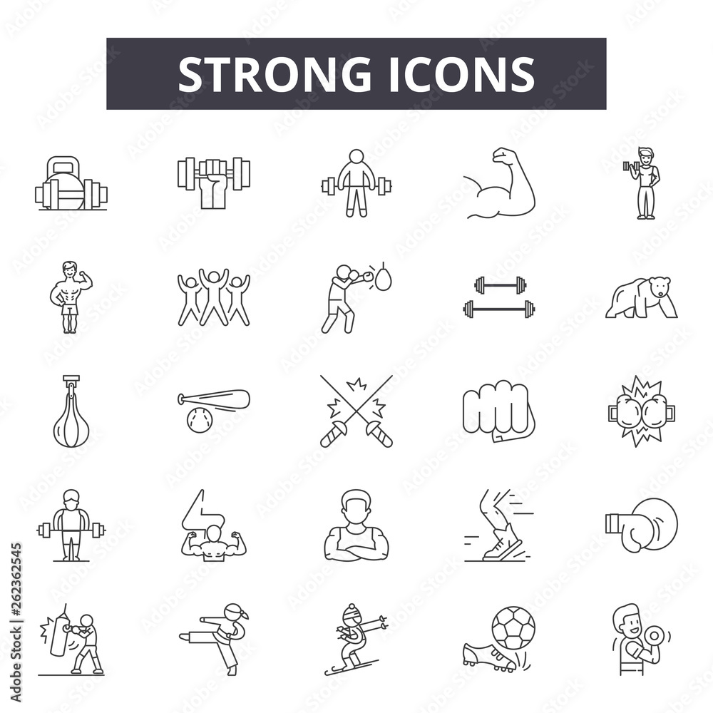Fototapeta Strong line icons, signs set, vector. Strong outline concept illustration: strong,strength,arm,isolated,fitness