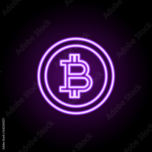 crypto currency coin neon icon  Elements of finance and chart set