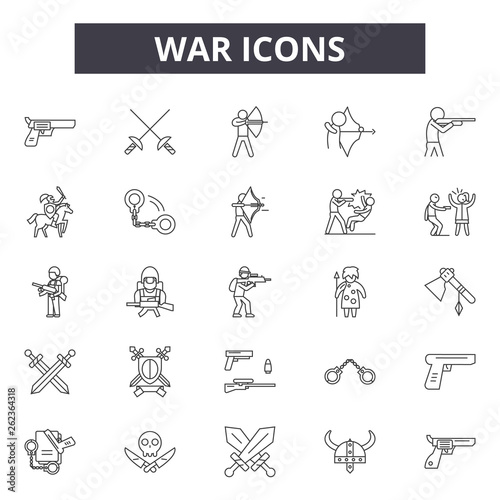 Photo War line icons, signs set, vector