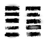 Fototapeta Młodzieżowe - Set of brush strokes, Black ink grunge brush strokes.Black inked splatter, dirt stain. Ink strokes with drops blots. Isolated grunge silhouette set. Vector illustration