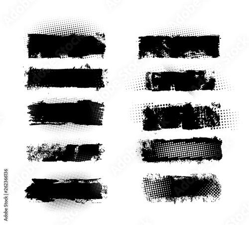 Set of brush strokes, Black ink grunge brush strokes.Black inked splatter, dirt stain. Ink strokes with drops blots. Isolated grunge silhouette set. Vector illustration Fototapete
