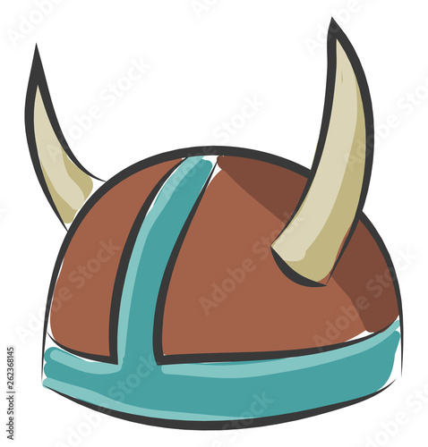 Hat with the twisty sharp horns vector or color illustration Fotobehang