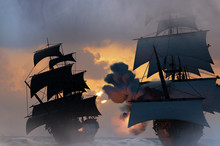 Sea Battle With A Sailing Pira...
