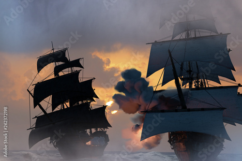 Valokuva sea battle with a sailing pirate ship 3d,render