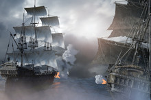 Sea Battle With A Sailing Pira...