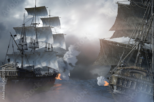 Photo sea battle with a sailing pirate ship 3d,render