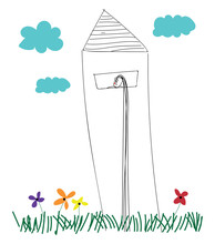 Line Art Of A Lighthouse Erected Above The Grasslands With Multi-colored Flowers Vector Or Color Illustration