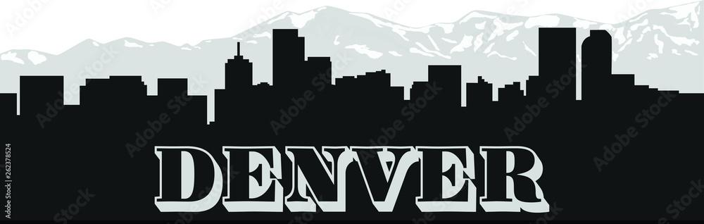 Fototapeta Denver skyline with illustration