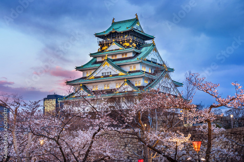 Osaka Castle and Cherry blossom in spring Canvas Print