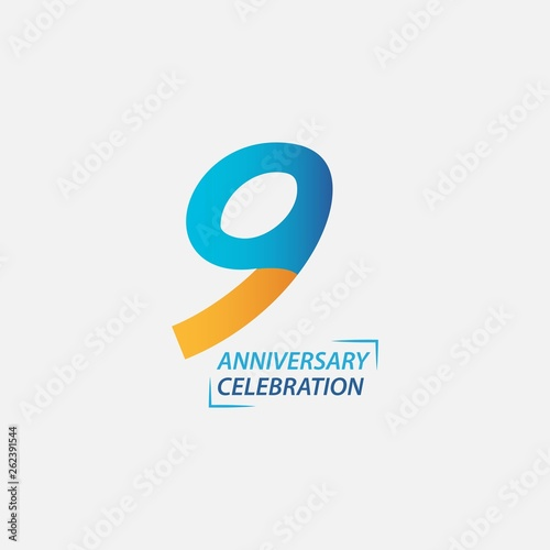 Fotografia  9 Year Anniversary Celebration Vector Template Design Illustration