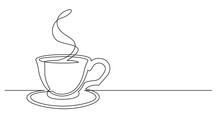 Contiuous Line Drawing Of Coffee Pot Pouring Hot Coffee In Cup
