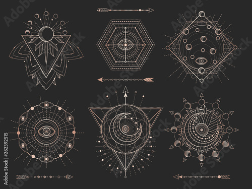 Foto auf AluDibond Boho-Stil Vector set of Sacred geometric symbols and figures on black background. Gold abstract mystic signs collection.