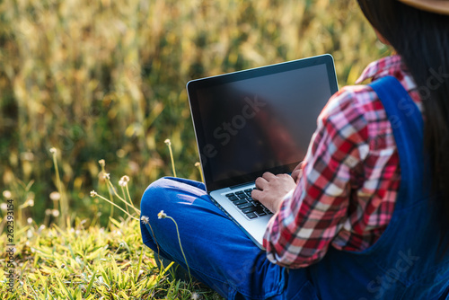 Fototapeta Smart Woman farmer looking barley field with laptop computer obraz