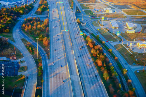 Fotomural Aerial view of Houston Suburban highway