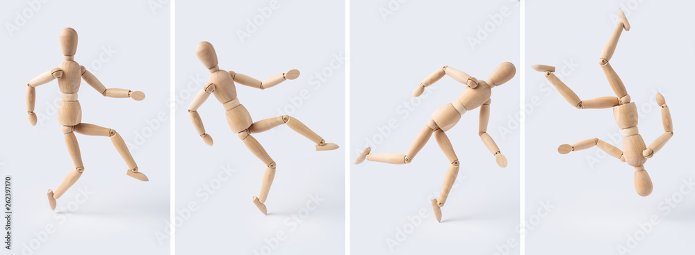 Fototapety, obrazy: collection of wooden mannequin on white background