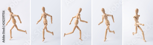 Photo collection of wooden mannequin on white background