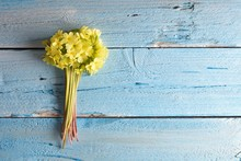 Spring Cowslip Flowers On A Wooden Background, Decorative Frame Or Border With Primula Veris Flowers On A Wooden Background