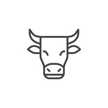 Horned Cow Line Icon. Linear S...