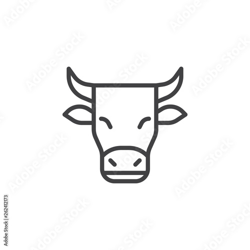 Horned cow line icon. linear style sign for mobile concept and web design. Cow outline vector icon. Dairy product symbol, logo illustration. Pixel perfect vector graphics Fototapete